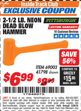 Harbor Freight 2-1/2 LB. NEON DEAD BLOW HAMMER coupon