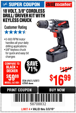 "www.hfqpdb.com - 18 VOLT CORDLESS 3/8"" DRILL/DRIVER WITH KEYLESS CHUCK Lot No. 68239/69651/62868/62873"