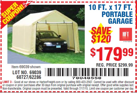 Harbor Freight Portable Garage Anchoring : Harbor freight tools coupon database free coupons