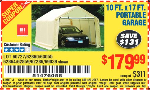 Green Harbor Freight Portable Garage : Harbor freight coupon ft portable garage lot