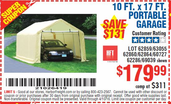 10 FT. x 17 FT. PORTABLE GARAGE Lot No. 69039/60727/62286/62860/63055/62864/62859 Expired 4/10/16 - $179.99 Coupon Code 21026419. Harbor Freight ...  sc 1 st  Harbor Freight Tools Coupon Database & Harbor Freight Tools Coupon Database - Free coupons 25 percent ...