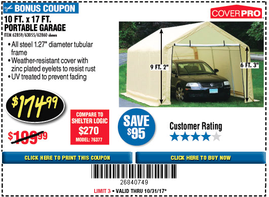Portable Garage 10 17 : Harbor freight tools coupon database free coupons