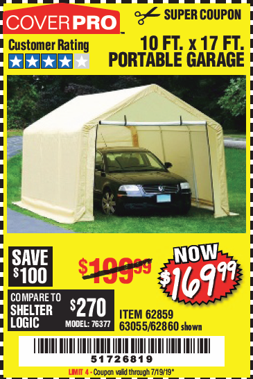 Harbor Freight 10 FT. x 17 FT. PORTABLE GARAGE coupon