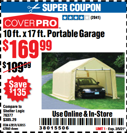 www.hfqpdb.com - COVERPRO 10 FT. X 17 FT. PORTABLE GARAGE Lot No. 62859, 63055, 62860