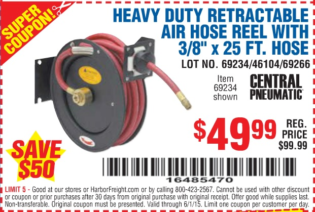 "coupons - HEAVY DUTY RETRACTABLE AIR HOSE REEL WITH 3/8"" x 25 FT. HOSE"