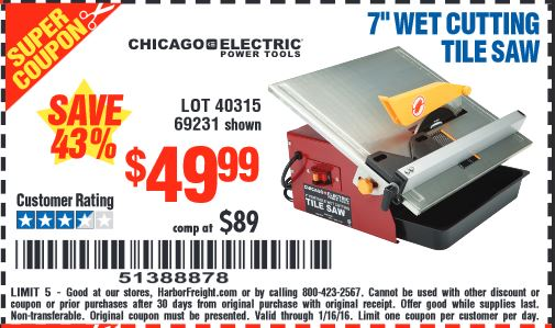 Harbor Freight Coupon 7 Portable Wet Cut Tile Saw Lot No 40315 69231 Expired 1 16 49 99
