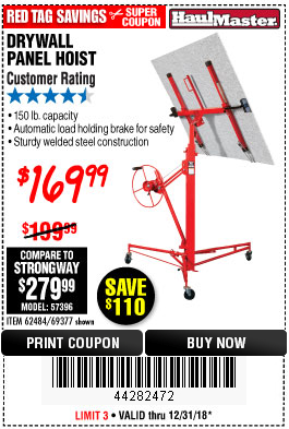 Harbor Freight 150 LB. CAPACITY DRYWALL/PANEL HOIST coupon