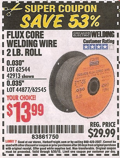Flux Core Welding Wire >> Harbor Freight Tools Coupon Database - Free coupons, 25 percent off coupons, toolbox coupons ...