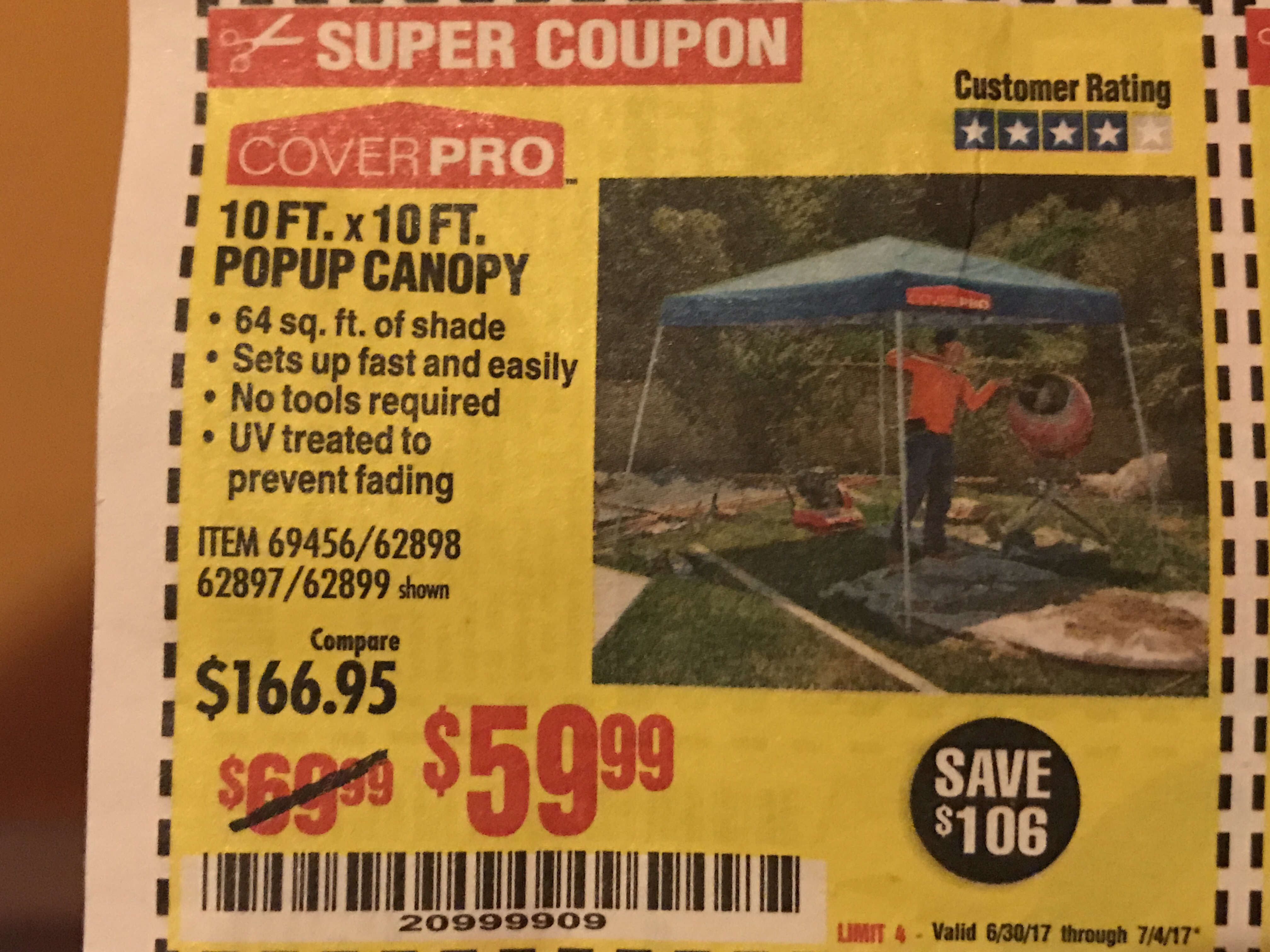 Harbor Freight 10 FT. x 10 FT. POPUP CANOPY coupon