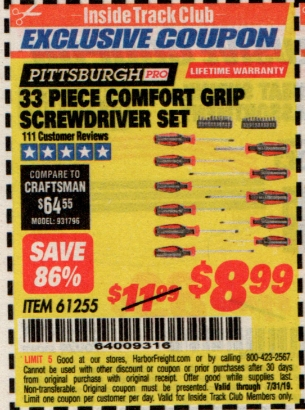 www.hfqpdb.com - 33 PIECE COMFORT GRIP SCREWDRIVER SET Lot No. 61255