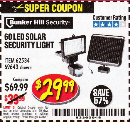 60 Led Solar Security Light Harbor Freight Tools Autos Post