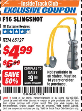Harbor Freight F16 SLINGSHOT coupon