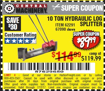 Harbor Freight 10 TON HYDRAULIC LOG SPLITTER coupon