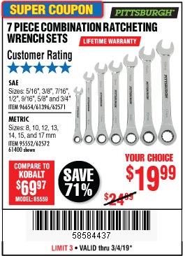 www.hfqpdb.com - 7 PIECE RATCHETING COMBINATION WRENCH SETS Lot No. 96654/61396/62571/95552/62572/61400