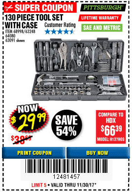 Harbor Freight 130 PIECE TOOL KIT WITH CASE coupon