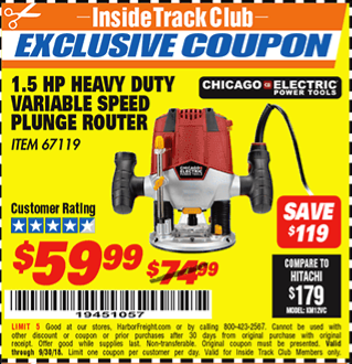 www.hfqpdb.com - 1.5 HP HEAVY DUTY VARIABLE SPEED PLUNGE ROUTER Lot No. 67119
