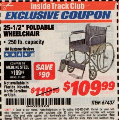 "www.hfqpdb.com - 24"" FOLDABLE WHEELCHAIR Lot No. 67437"