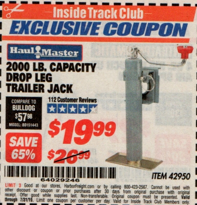 www.hfqpdb.com - 2000 LB CAPACITY DROP LEG TRAILER JACK Lot No. 42950