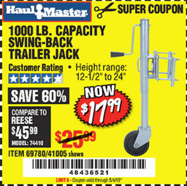 www.hfqpdb.com - 1000 LB. CAPACITY SWING-BACK TRAILER JACK Lot No. 41005/69780
