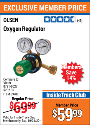 Harbor Freight OXYGEN REGULATOR coupon