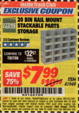 www.hfqpdb.com - 20 BIN RAIL MOUNT STACKABLE PARTS STORAGE Lot No. 41949