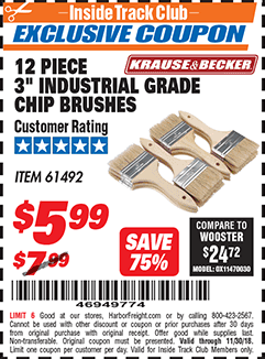 """www.hfqpdb.com - 3"""" INDUSTRIAL GRADE CHIP BRUSHES PACK OF 12 Lot No. 4183/61492"""