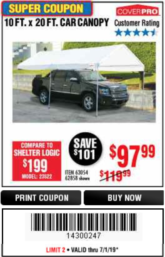 Harbor Freight 10  FT X 20 FT CAR CANOPY coupon