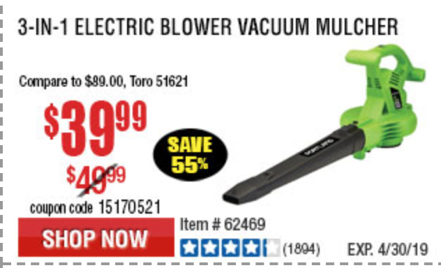 Harbor Freight 3-IN-1 ELECTRIC BLOWER VACUUM MULCHER coupon