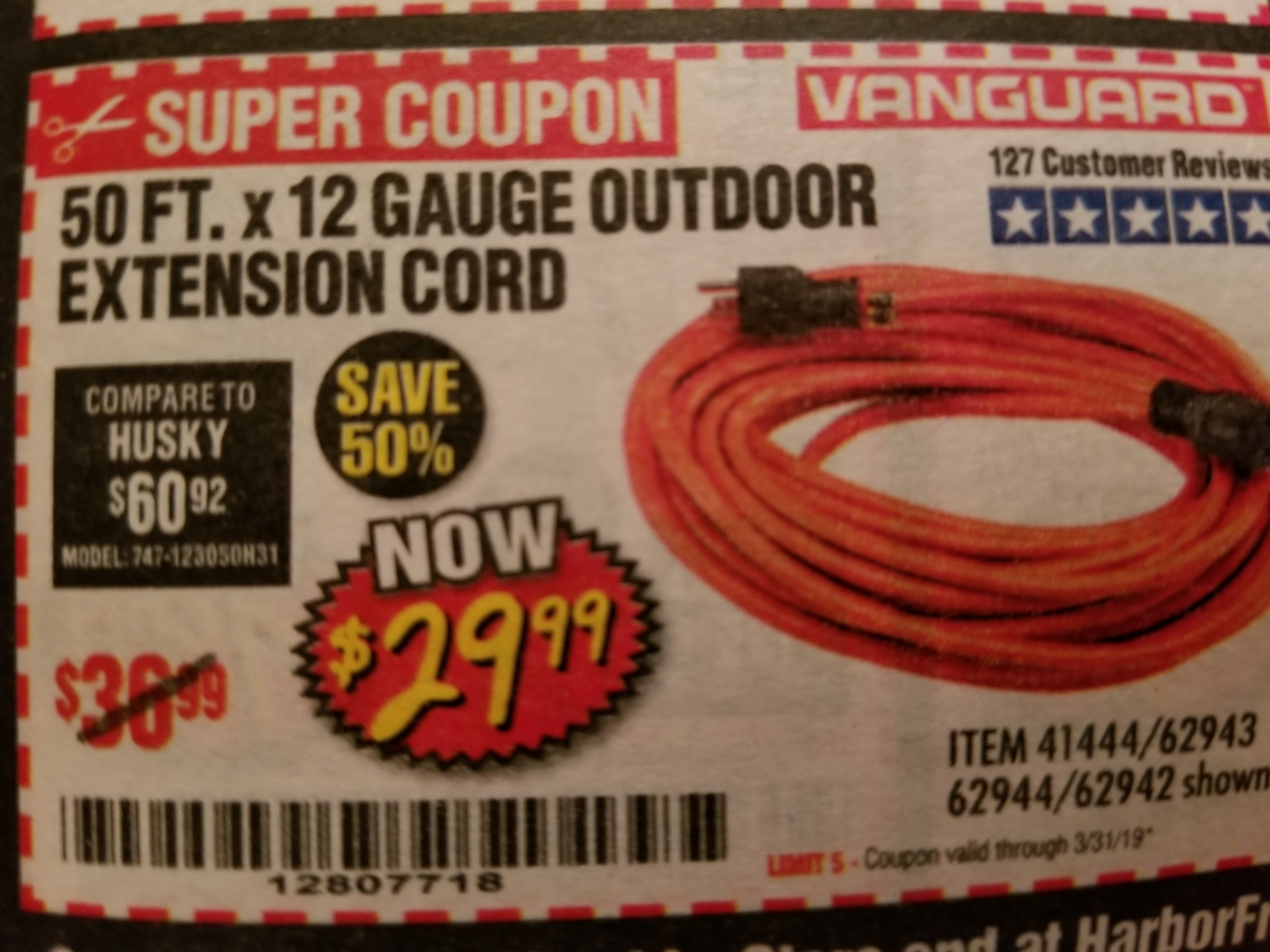 www.hfqpdb.com - 12 GAUGE X 50 FT. OUTDOOR EXTENSION CORD Lot No. 60273/61866/62942/62943/62944/41444