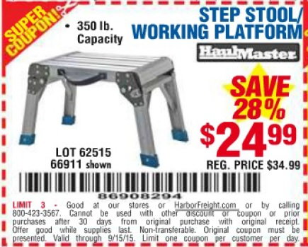 Harbor Freight Coupon Step Stool Working Platform Lot No