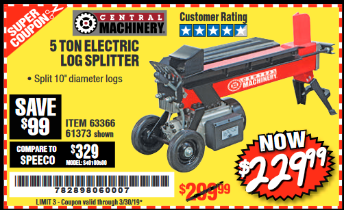 Harbor Freight 5 TON ELECTRIC LOG SPLITTER coupon