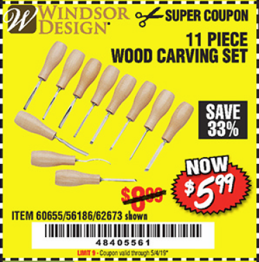 Harbor Freight 11 PIECE WOOD CARVING SET coupon