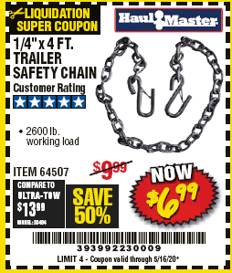"www.hfqpdb.com - 1/4"" X 4 FT. TRAILER SAFETY CHAIN Lot No. 64507"