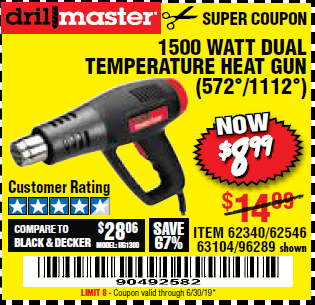Harbor Freight 1500 WATT DUAL TEMPERATURE HEAT GUN (572/1112) coupon