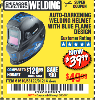 Harbor Freight AUTO-DARKENING WELDING HELMET WITH BLUE FLAME DESIGN coupon