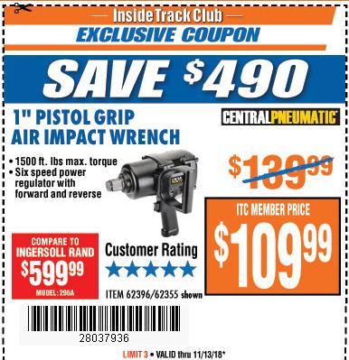"www.hfqpdb.com - 1"" Pistol Grip Air Impact Wrench Lot No. 62396/62355"