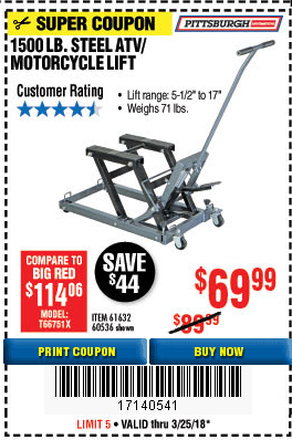 Harbor Freight 1500 LB. CAPACITY MOTORCYCLE LIFT coupon