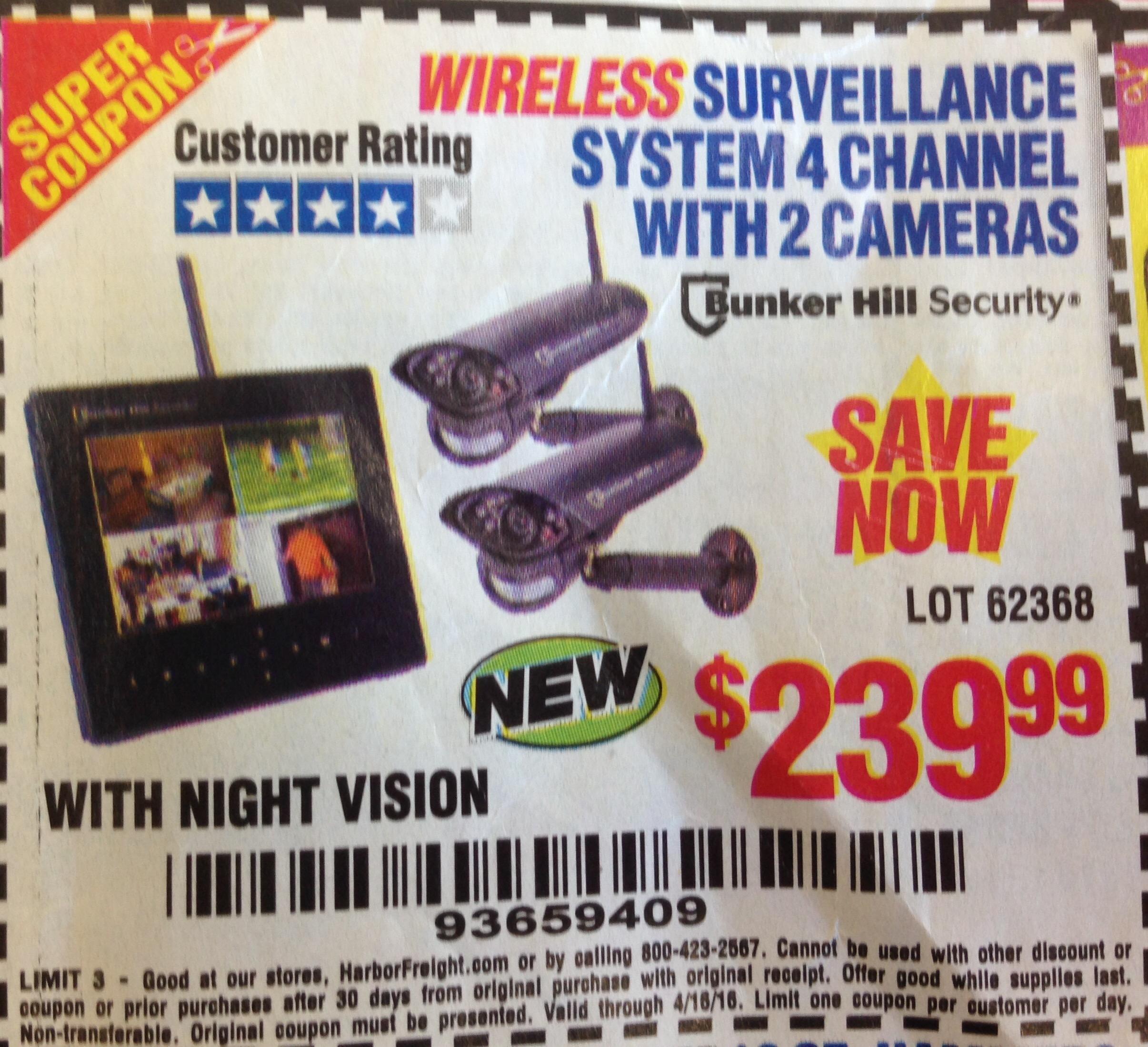 Security camera coupons