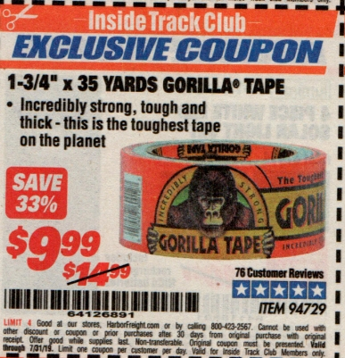 "www.hfqpdb.com - 1-3/4"" X 35 YARDS GORILLA TAPE Lot No. 94729"