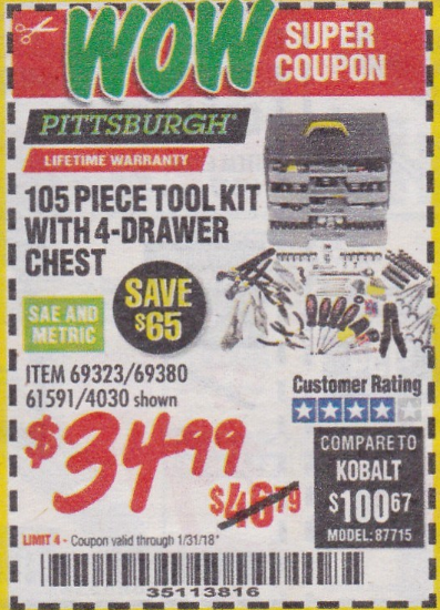 Harbor Freight 105 PIECE TOOL KIT WITH 4-DRAWER CHEST coupon