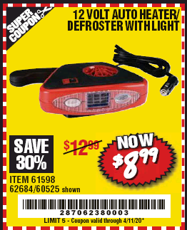 www.hfqpdb.com - 12 VOLT AUTO HEATER/DEFROSTER WITH LIGHT Lot No. 61598/60525/96144