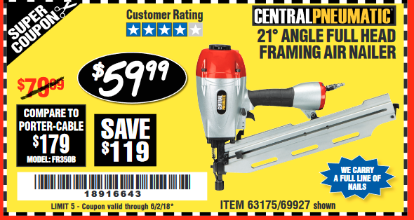 Harbor Freight 21 DEG ANGLE FULL HEAD FRAMING AIR NAILER coupon