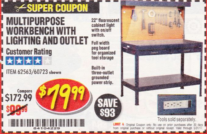 Harbor Freight MULTIPURPOSE WORKBENCH WITH LIGHTING AND OUTLET coupon