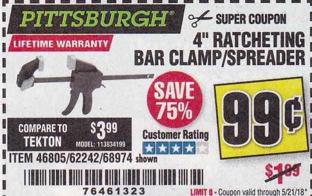 "4"" RATCHETING BAR CLAMP/SPREADER Lot No. 46805/62242/68974"