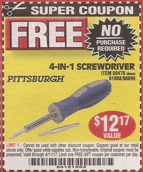 Harbor freight free 4 in 1 screwdriver