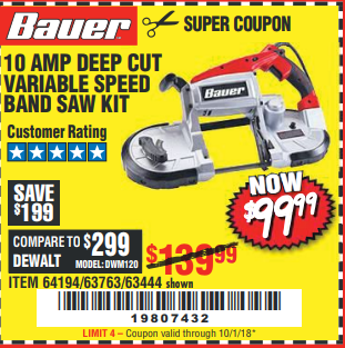 Harbor Freight 10 AMP DEEP CUT VARIABLE SPEED BAND SAW KIT coupon