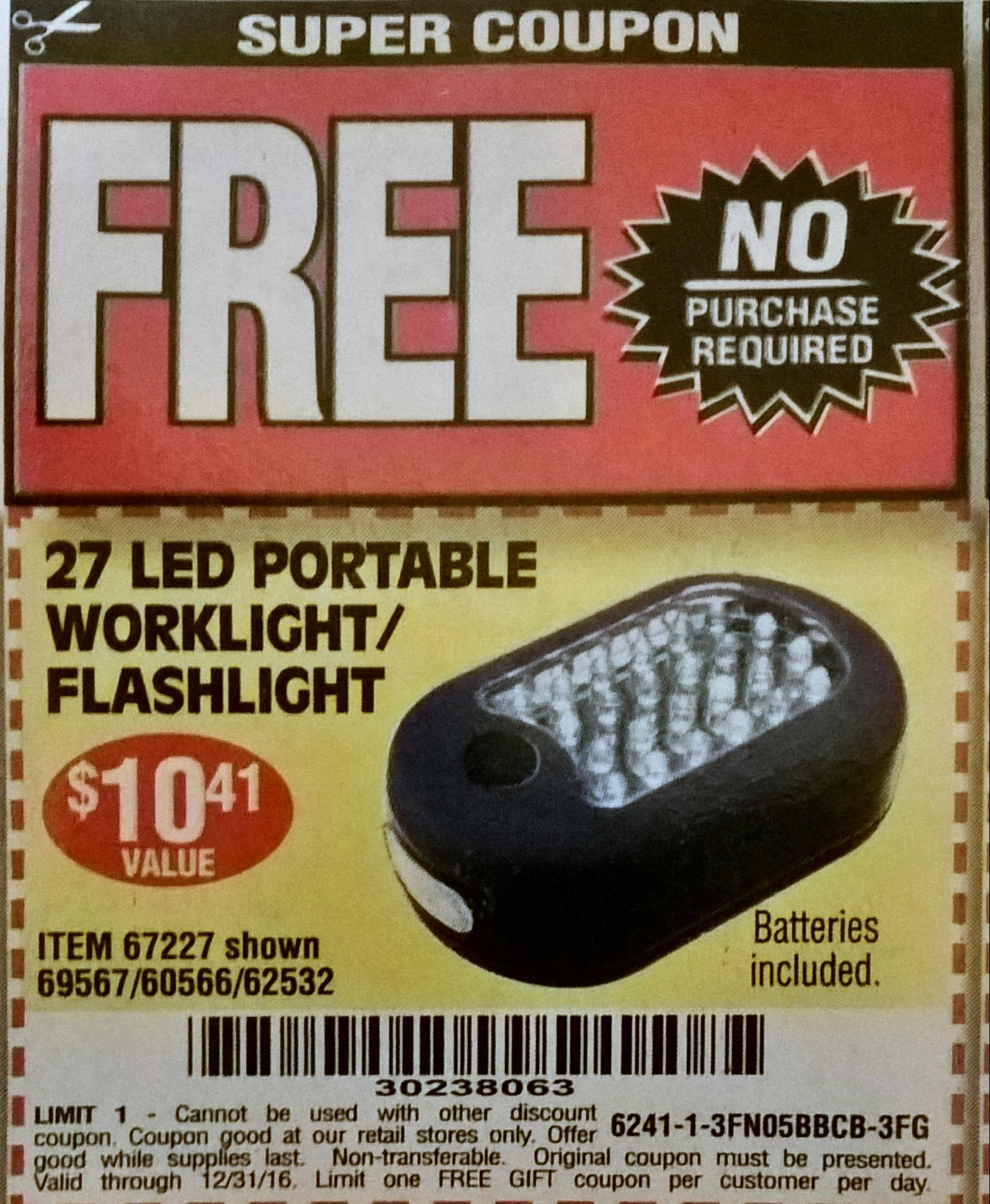 Harbor freight tools coupon free flashlight