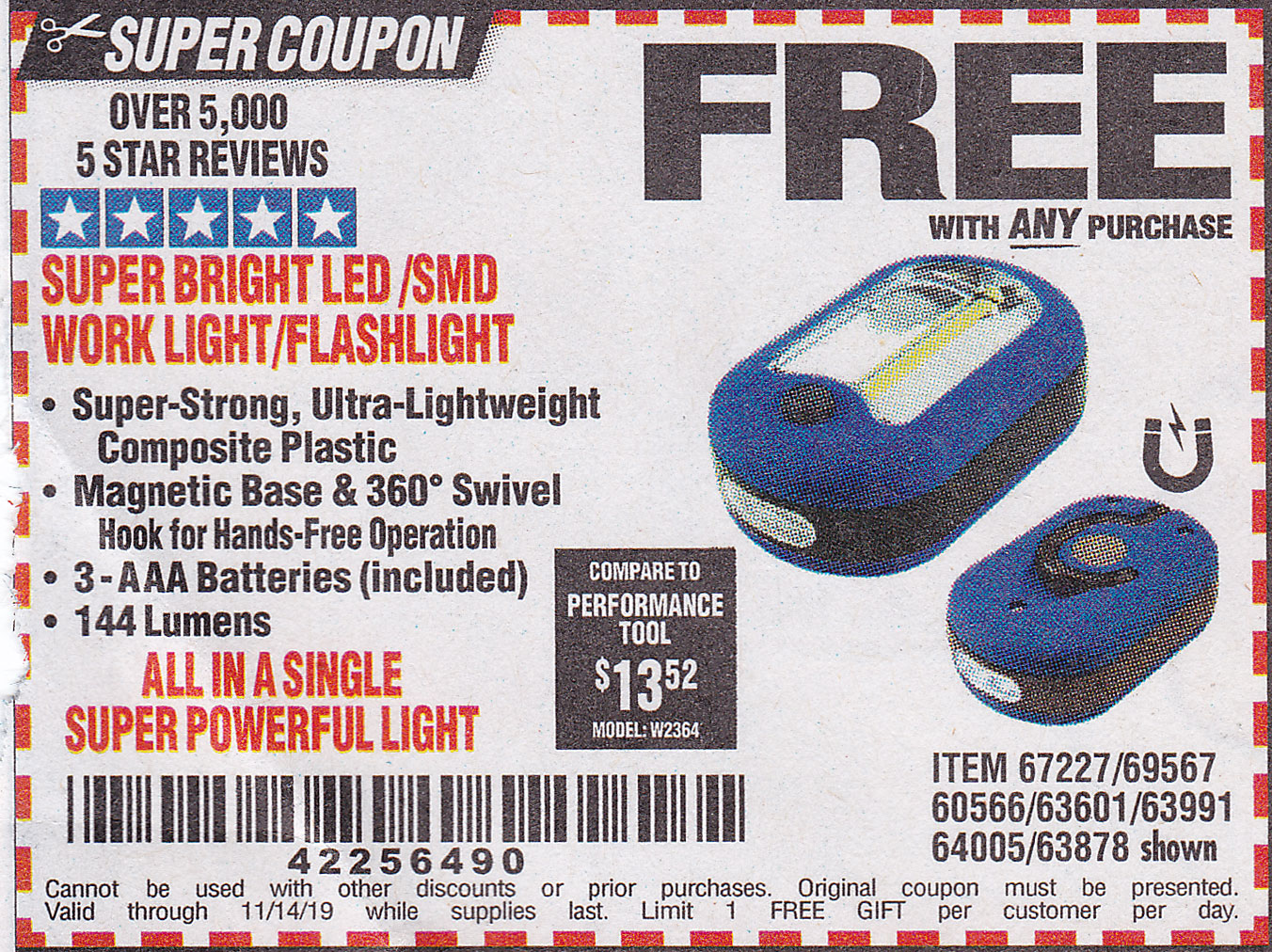 www.hfqpdb.com - LED PORTABLE WORKLIGHT/FLASHLIGHT Lot No. 63878/63991/64005/69567/60566/63601/67227