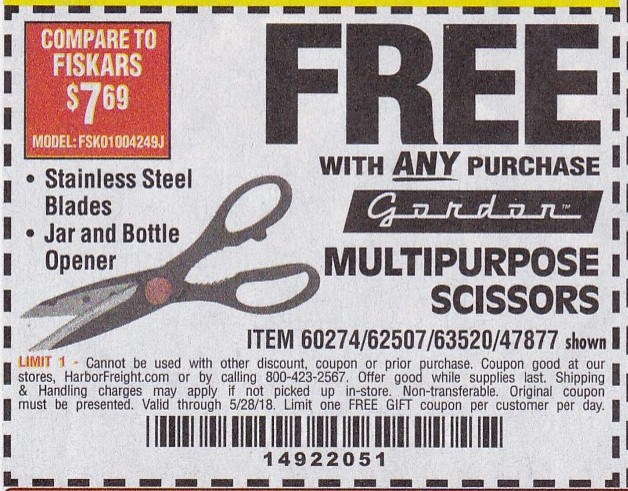 Harbor Freight MULTIPURPOSE SCISSORS coupon