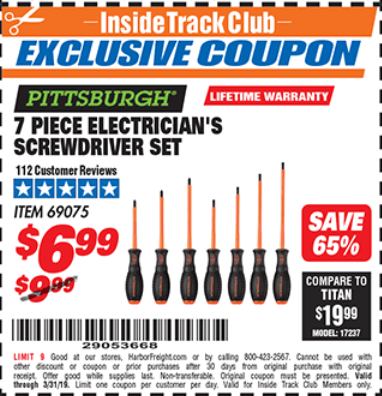 Harbor Freight 7 PIECE ELECTRICIAN'S SCREWDRIVER SET coupon